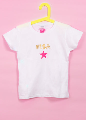 Personalised T Shirt with Neon Star - KIDS