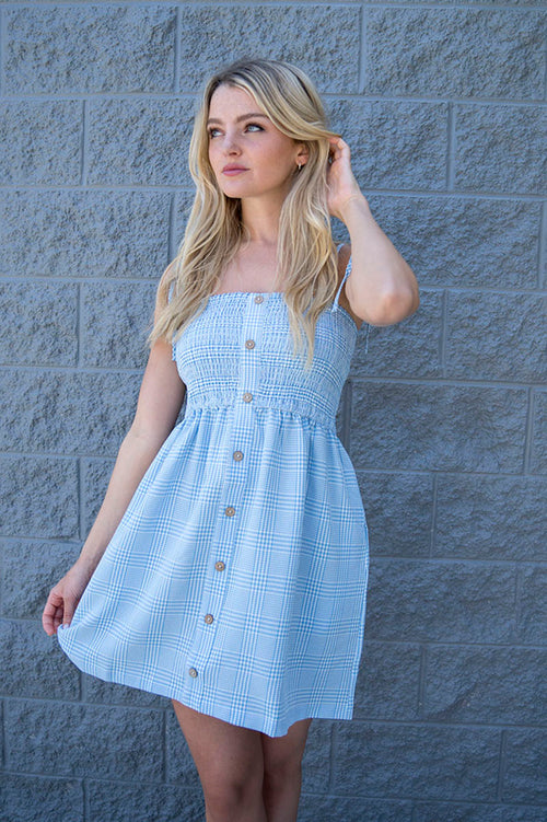 Brea Plaid Smocked Dress