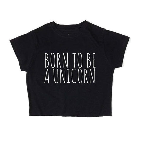 Black Born To Be A Unicorn Crop Top