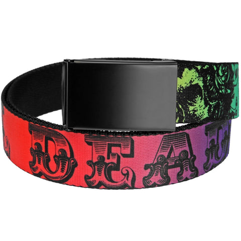 Grateful Dead - Skull And Roses Text Rainbow Fade Web Belt