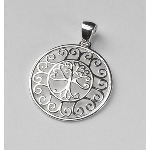 Southern Gates Collection Southern Oak Series Scroll Framed Round Oak Tree Pendant