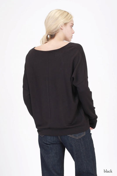 Boat Neck Fleece Sweatshirt