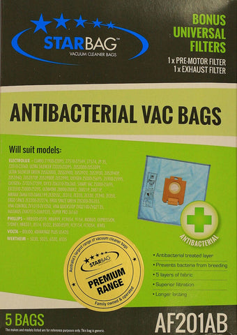 Antibacterial Bags for Electrolux, Excellio,Oxygen,Volta & Phillips