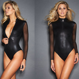 Mesh Leather Long Sleeve Bodysuit