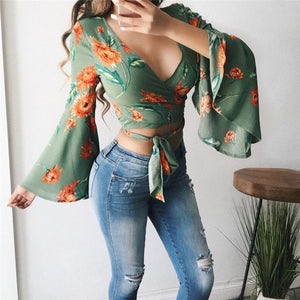 Orange Blossom Boho V Blouse