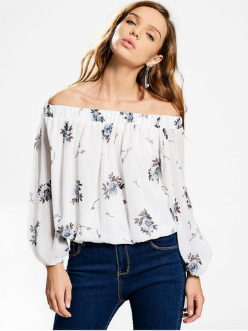 Fashion Off The Shoulder Floral Chiffon Blouse