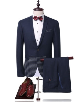 Plaid Slim Men's Dress Suit Notched Collar One Button Patchwork