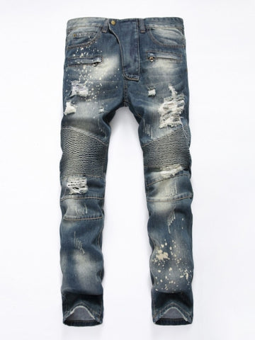 Men's Hole Jeans Mid Waist Straight Slim