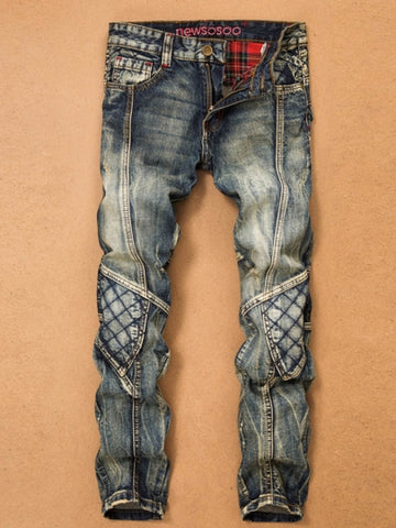 Men's Vogue Jeans Patchwork Hole Worn Straight