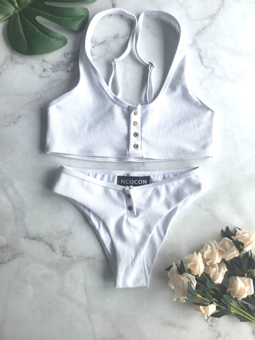 White And Black Padded Ribbed Texture Buttons Bikini Set