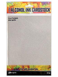Tim Holtz® Alcohol Ink Cardstock Silver Sparkle, 10pc