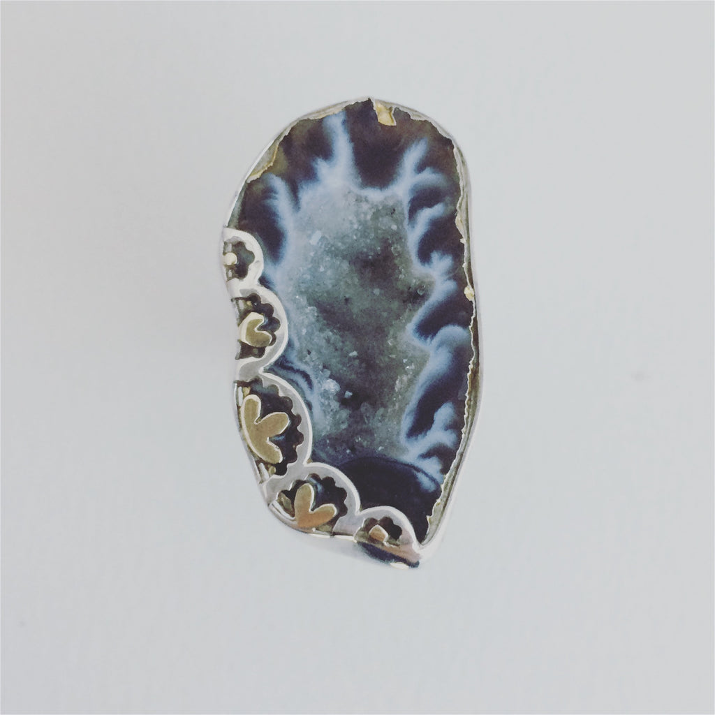 Gold and Silver Large Geode Ring