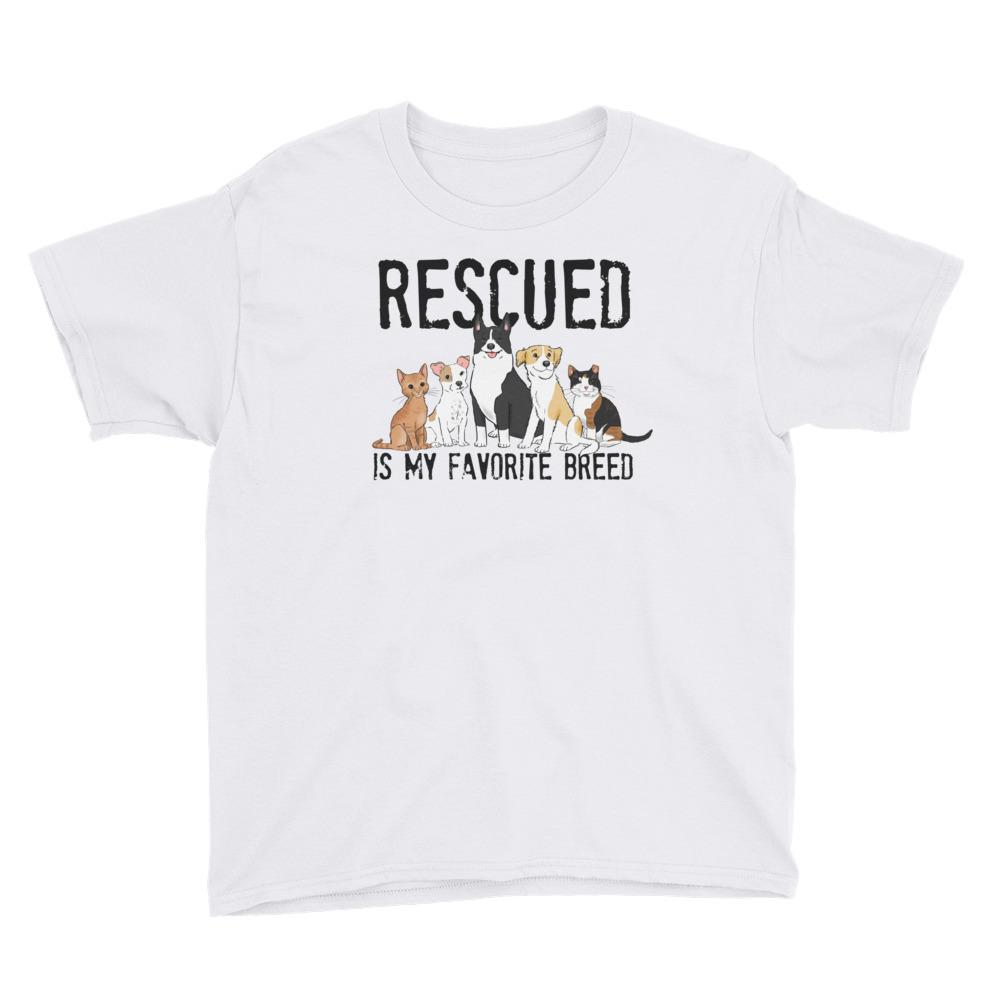 Kids T-Shirts - Rescued Is My Favorite Breed Kids T-Shirt