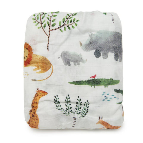 Muslin crib sheet - Safari Jungle by Loulou Lollipop