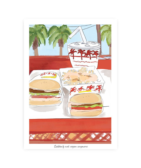 Drawlaland Postcard - In N Out - Pink Dot