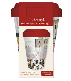 L.S. Lowry Going to Work Reusable Bamboo Travel Mug