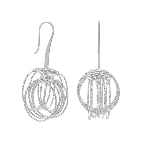 Rhodium Plated 3D Orbital Ring Earrings.