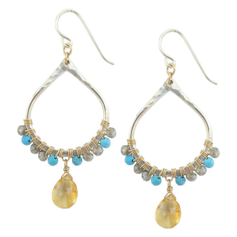 Audrey Earrings in Turquoise / Citrine