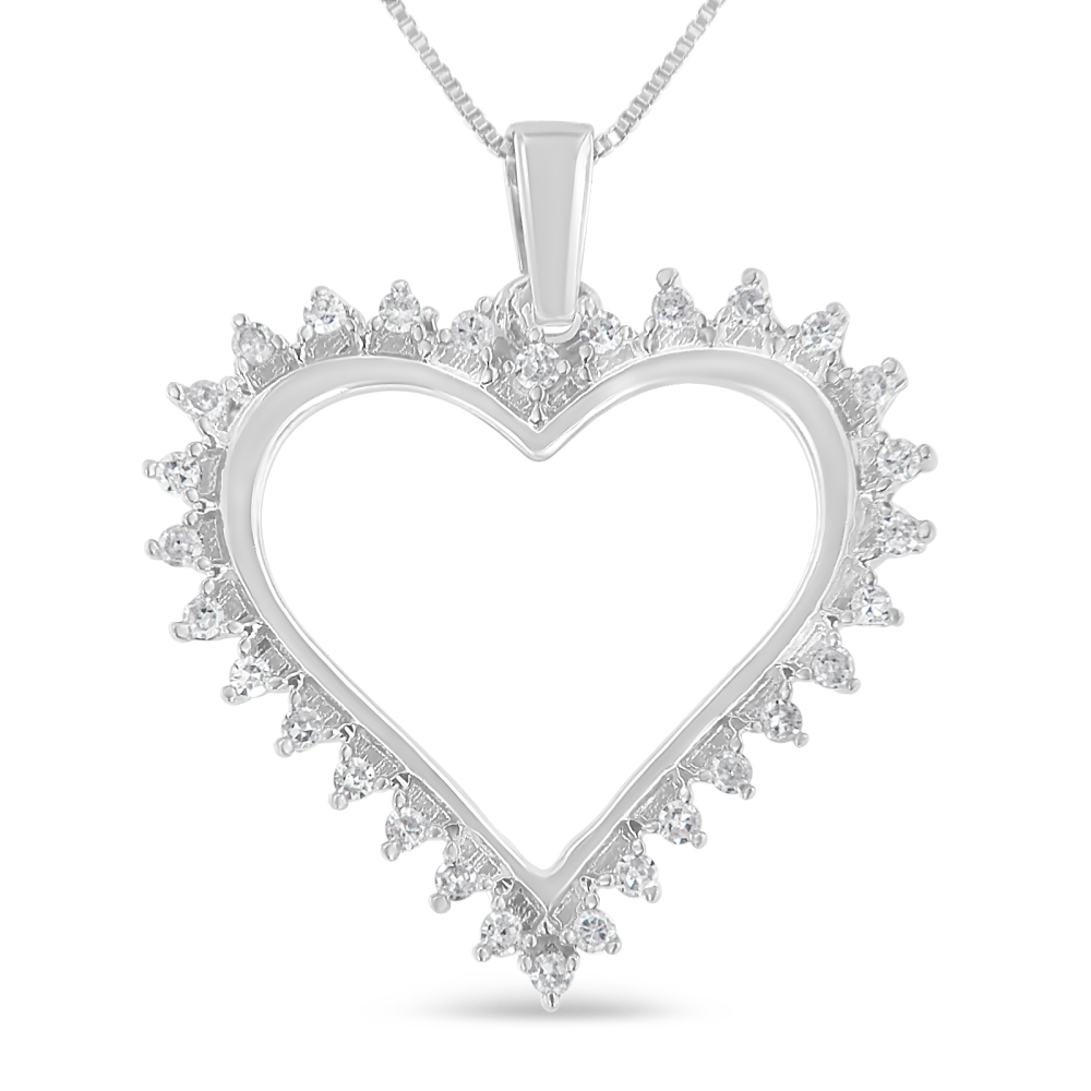 Brilliant Sterling Silver 1/4ct TDW Diamond Heart Pendant Necklace (I-J, I3)