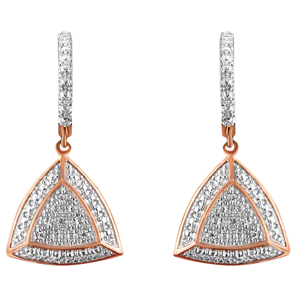 Rose Gold Plated Sterling Silver 0.03ct TDW Round Cut Diamond Fashion Dangle Earrings (H-I,I2)
