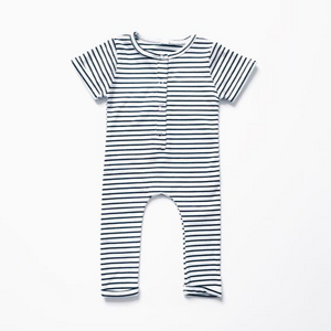 Short Sleeve Henley Romper - Stripe