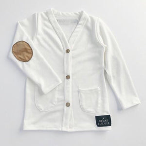 Ivory Elbow Patch Cardigan
