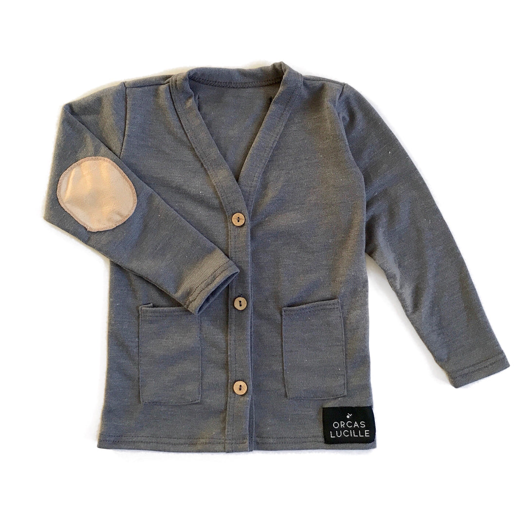 Grey Elbow Patch Cardigan