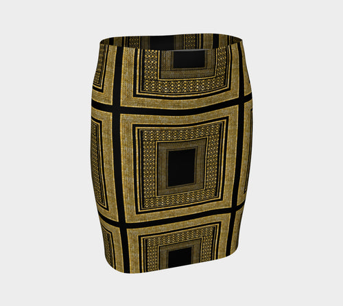 Gold Foil Frame Fitted Skirt