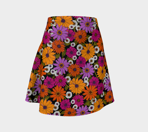 Retro Floral Flare Skirt
