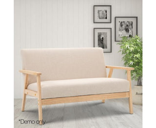 2-Seater Fabric Sofa Couch - Beige