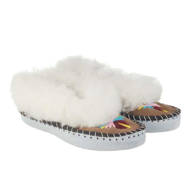 handmade embroidered sheepskin slippers