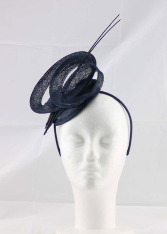 "Image of ""Brittany"" Navy Blue Fascinator"