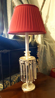 Dauphine Lamp with Red Shade