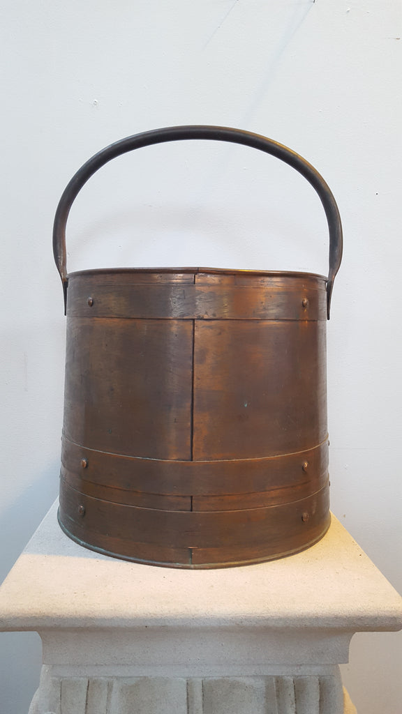 Handmade Large Brass Bucket, Signed