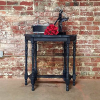 Black Side Table with Custom Cut Glass Top