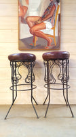 Vintage Leather-Top Stool on Wrought Iron Base (2 available)