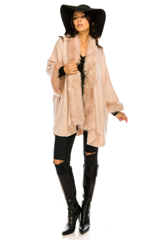 PC-048DP A knit poncho featuring a faux fur lined collar