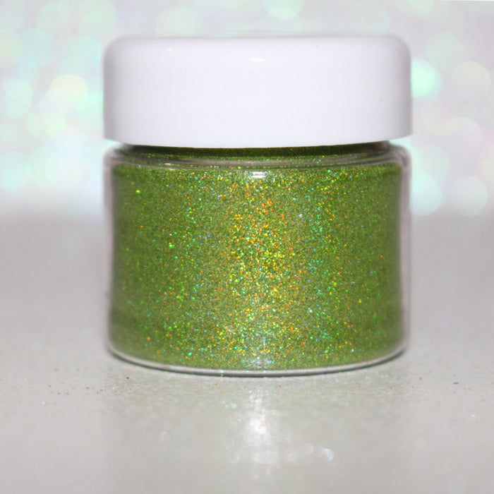 "Glitter Lambs ""Alien"" Green Holographic Glitter Eyeshadow by GlitterLambs.com #glittereyeshadow #glitter #looseglitter #makeup #holographicglittereyeshadow #holographic"