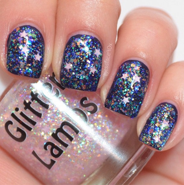 "Glitter Lambs ""It's Snowing Cotton Candy"" glitter topper nail polish #nails #glitternails #nailart #naildesigns #glitterlambs #nailpolish #glitternailpolish"