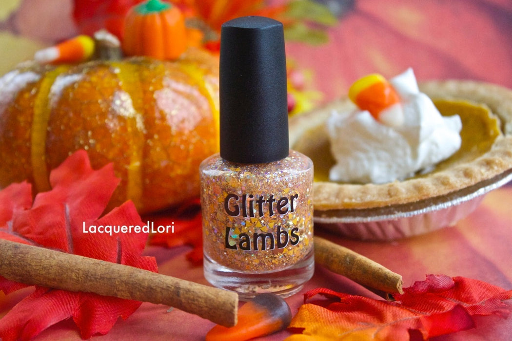 "Glitter Lambs ""Pumpkin Pie"" glitter topper nail polish. Pic by @lacqueredlori #nails #glitternails #nailart #naildesigns #glitterlambs #nailpolish #polish #glitternailpolish"