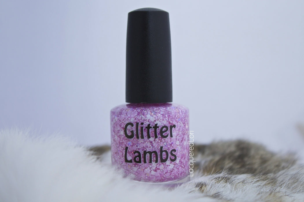 "Glitter Lambs ""It's So Fluffy"" Glitter topper nail polish. Pic by @lacqueredlori #nails #glitternails #nailpolish #glitterpolish #glitternalispolish #glitterlambs"