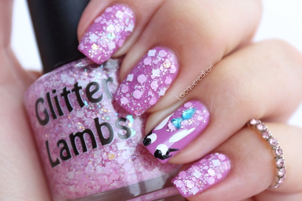 "Glitter Lambs ""It's So Fluffy"" Glitter topper nail polish worn by @lacqueredlori #nails #glitternails #nailpolish #glitterpolish #glitternalispolish #glitterlambs"