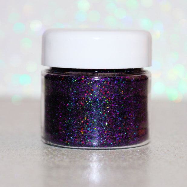 "Glitter Lambs ""Maleficent"" Loose Glitter Eyeshadow by GlitterLambs.com Purple Black Holographic Glitter Eyeshadow"