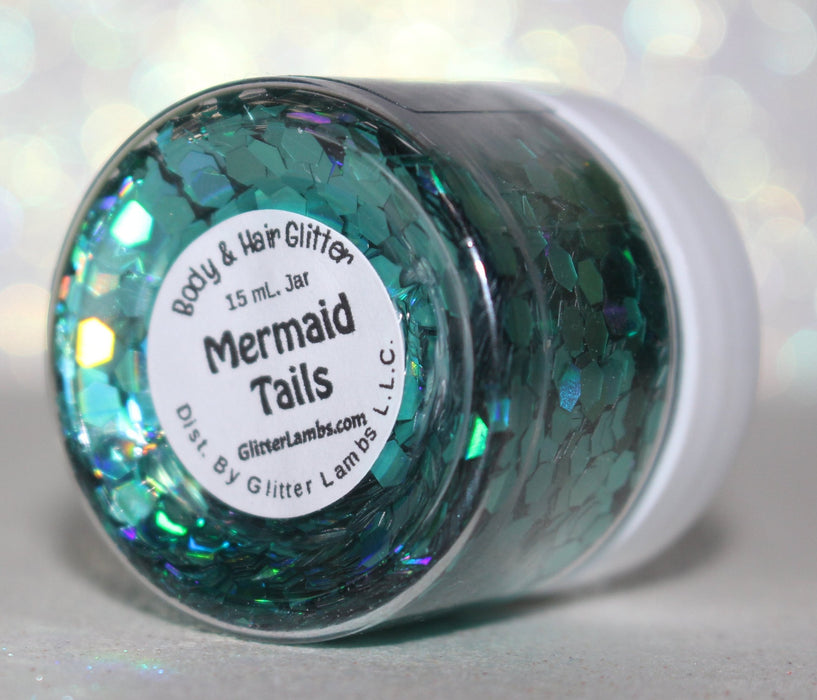 "Glitter Lambs ""Mermaid Tails"" Body, Face, Hair, Nail Glitter by GlitterLambs.com #bodyglitter #mermaidglitter #holohgraphicglitter #hairglitter #nailglitter #skinglitter"