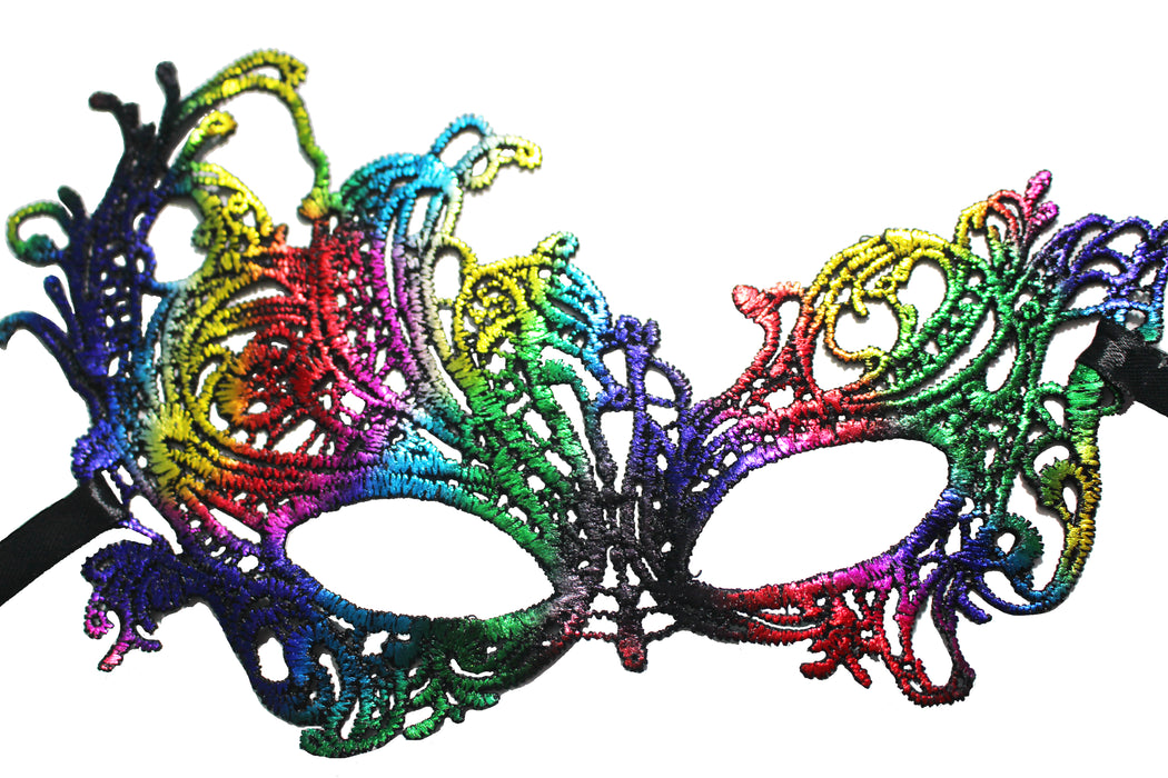 Rainbow Masquerade Masks For Mardi Gras by GlitterLambs.com #mardigras #masquerademasks #masks #rainbowmasquerademasks #glitterlambs