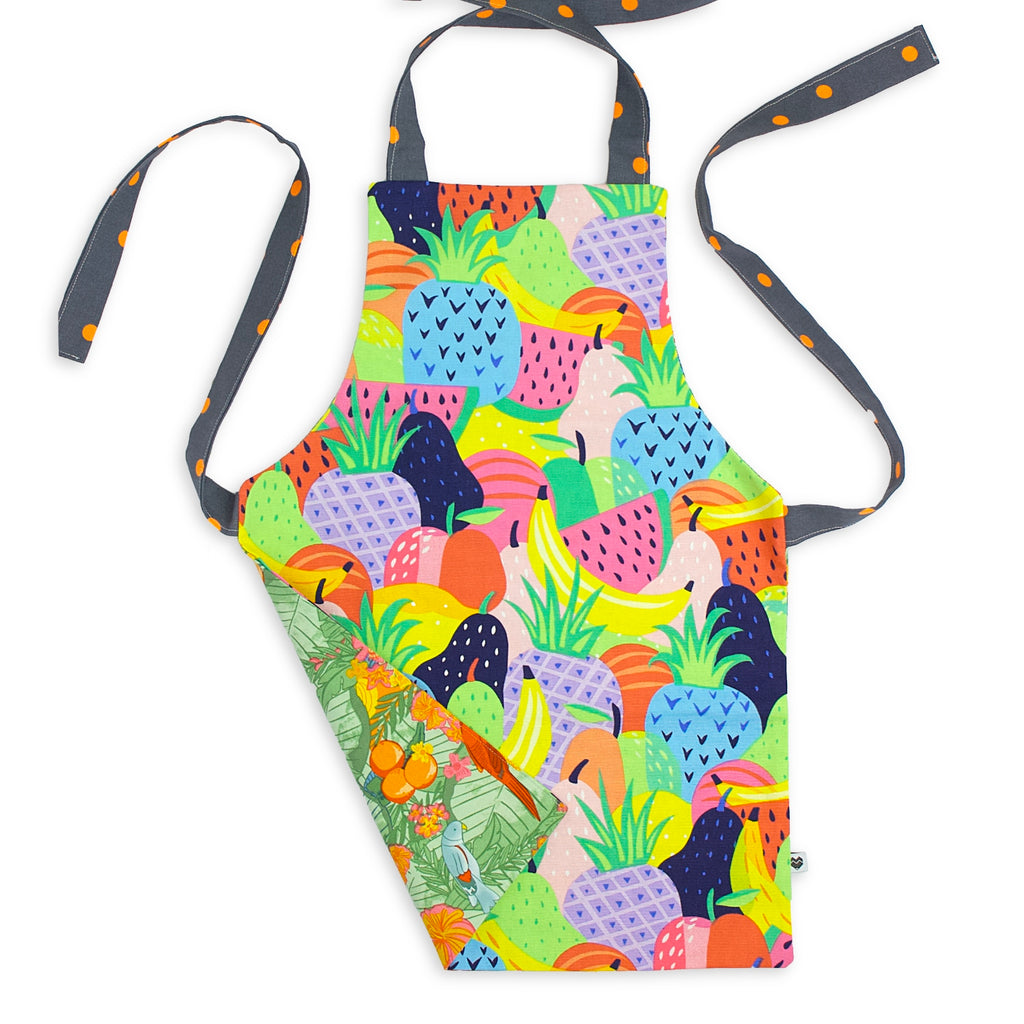 Kids Reversible Apron - Fruit Salad/Jungle Birds
