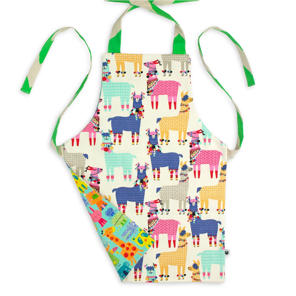 Kids Reversible Apron - Llamas/Animals