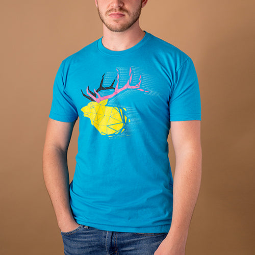 young white male wearing bright blue t-shirt with bull elk in bright pink and yellow created in a wireframe style
