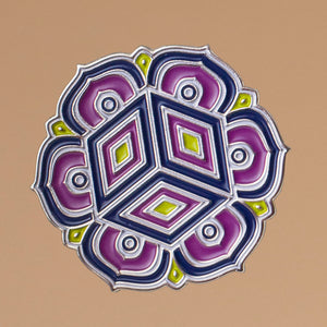 enamel pin of 6 peldal lotus and cube design in purples high-lighted with lime green