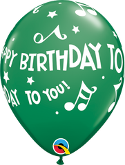 "Happy Birthday To You Music Notes Green 11"" Balloons"